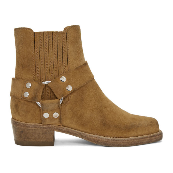 Buy Re/Done Tan Suede Short Cavalry Boots online