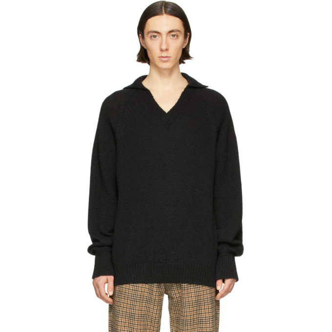 Our Legacy Pull noir Big Coarse Knit