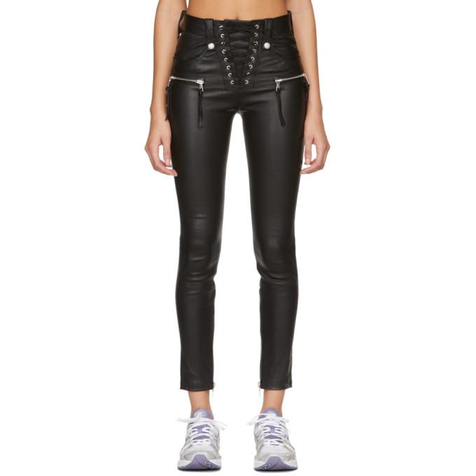 Unravel Pantalon en cuir plonge noir Corset