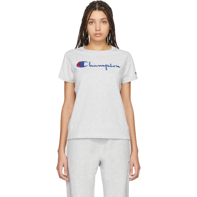 Champion Reverse Weave Grey Big Script T-shirt In Loxgm Grey