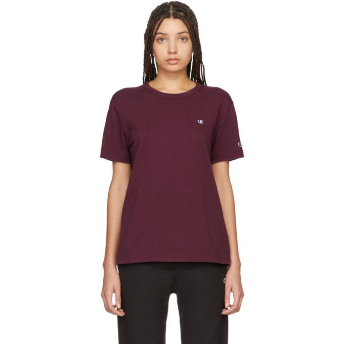 Champion Reverse Weave Burgundy Logo T-shirt In Wre Burgund