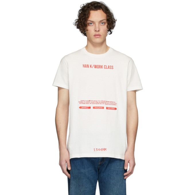 Han Kjobenhavn T-shirt blanc casse et rouge Artwork