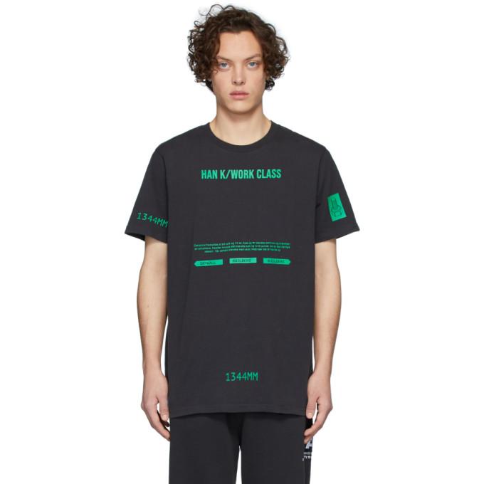 Han Kjobenhavn T-shirt noir et vert Artwork