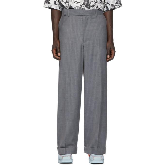 Eckhaus Latta Pantalon a rayures fines gris Sway