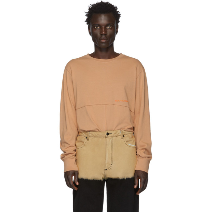 Eckhaus Latta T-shirt a manches longues orange Lapped