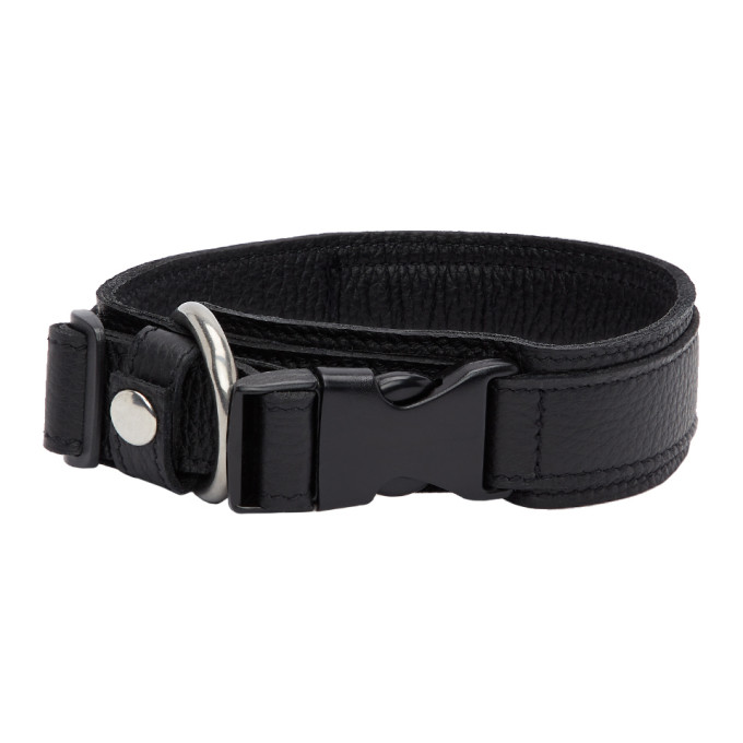 032c Black Leather Collar 201843F06700801