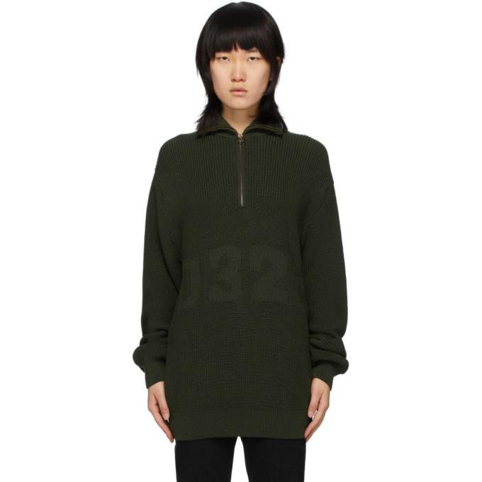 032c Green Troyer Half Zip Sweater 201843F09702004