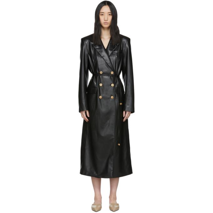 Nanushka Malina Belted Vegan Leather Trench Coat In Black