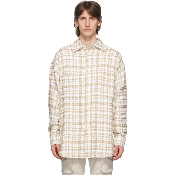 Faith Connexion Surchemise en tweed blanc casse et doree
