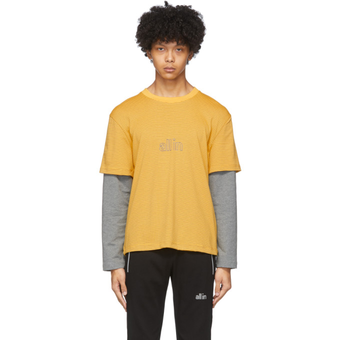 all in T-shirt a manches longues raye jaune