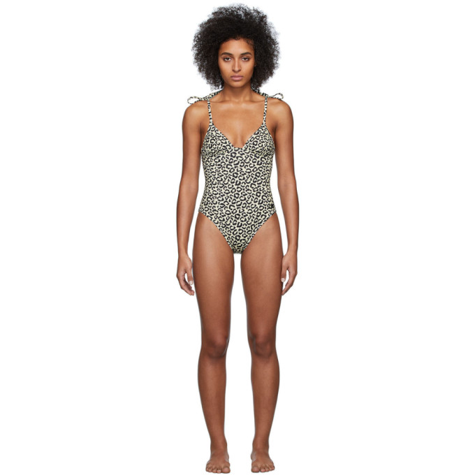 Solid and Striped Maillot de bain une piece a motif leopard noir et beige The Olympia