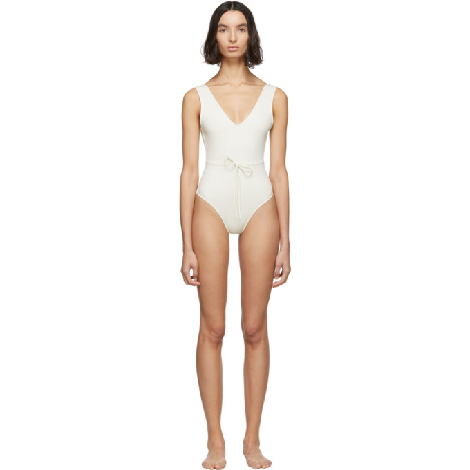 Solid and Striped Maillot de bain une piece blanc casse The Michelle