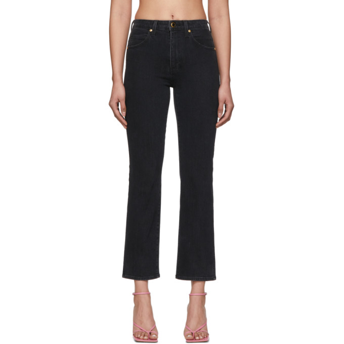 Khaite Raquel Patch Pocket Cropped Flare Jeans In 036 Black