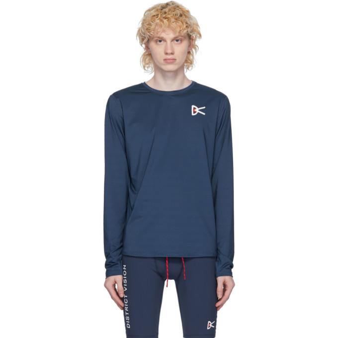 District Vision T-shirt a manches longues bleu Air-Wear