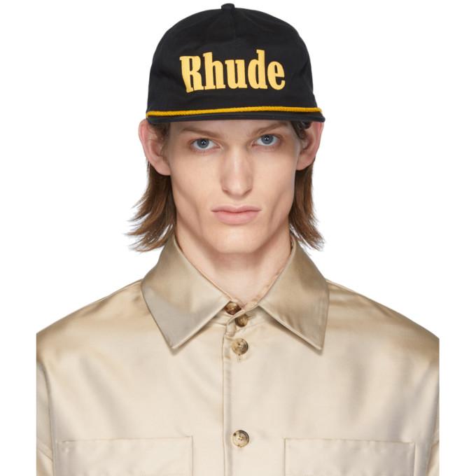Rhude Casquette a logo noire et jaune