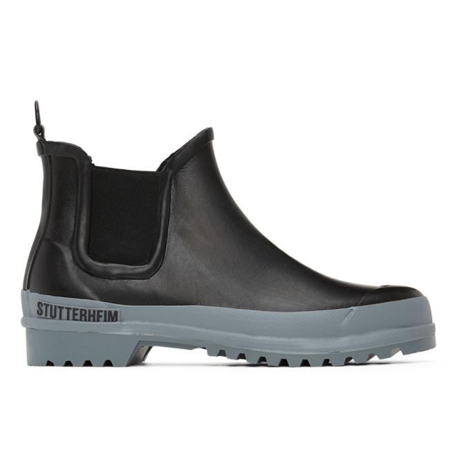 Stutterheim Bottes chelsea noires et grises Rainwalker
