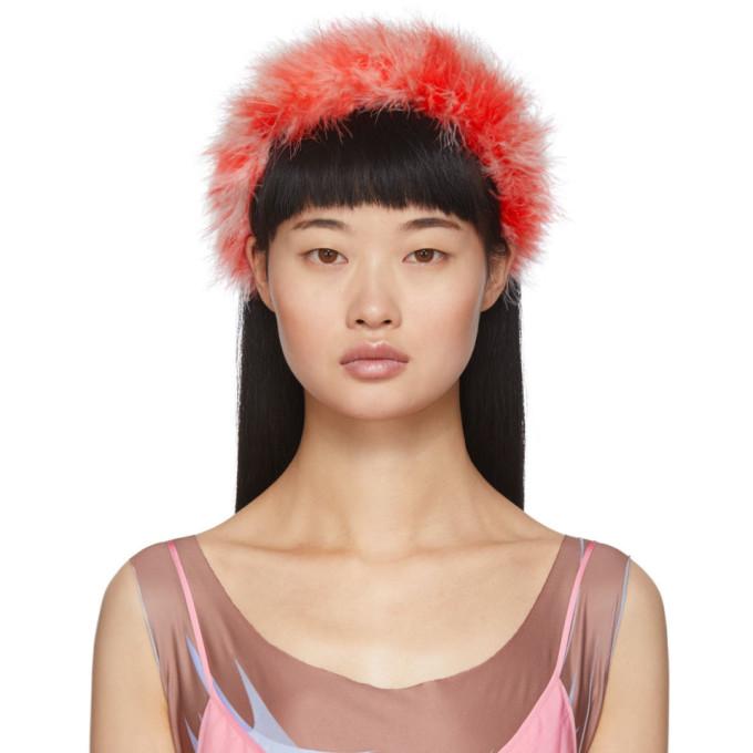 Ashley Williams Serre-tete a plumes rouge Poppy