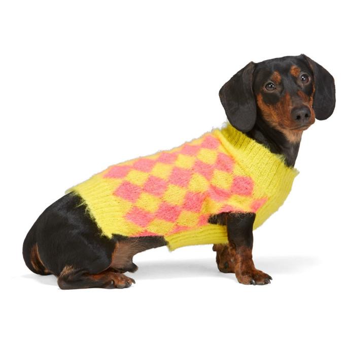 Ashley Williams Pull pour chien jaune et rose exclusif a SSENSE