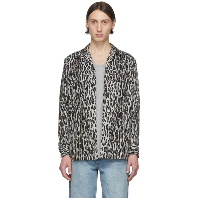 Wacko Maria Chemise en flanelle a motif leopard grise et brune