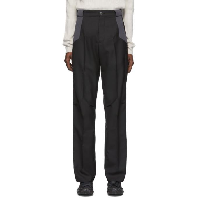 Kiko Kostadinov Pantalon en laine noir et gris Tulcea Tailored