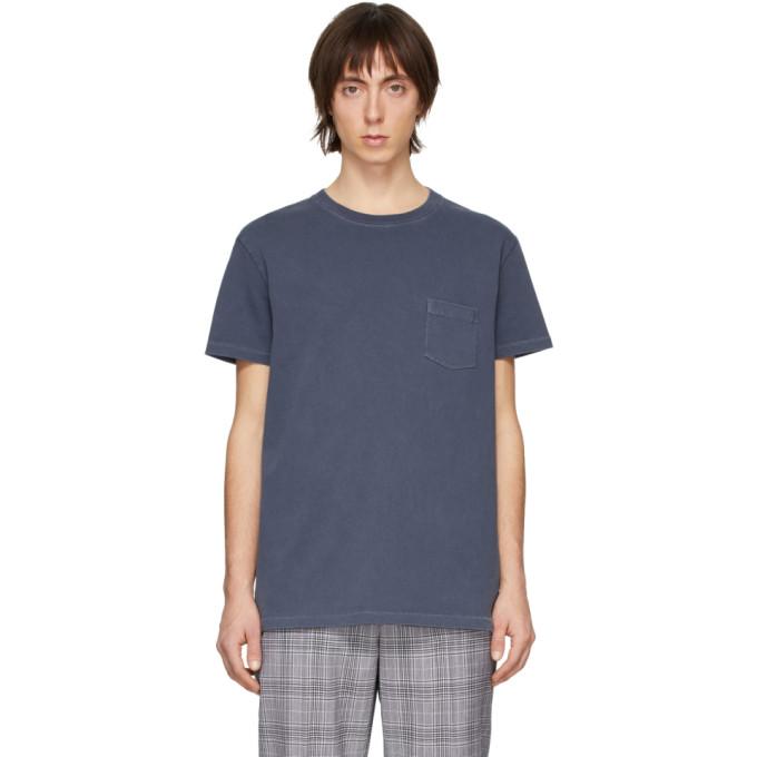 Schnaydermans T-shirt en jersey tisse-teint indigo