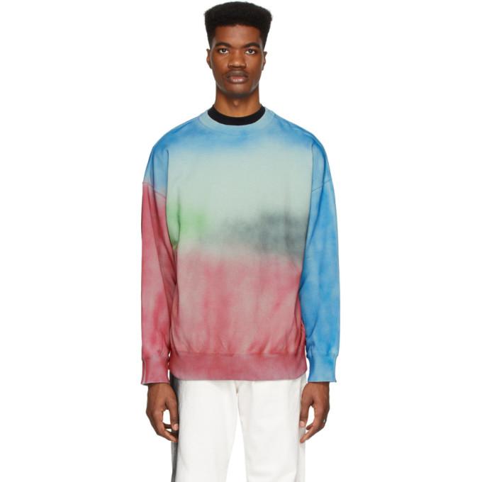 N.Hoolywood Pull molletonne a motif tie-dye bleu et rouge