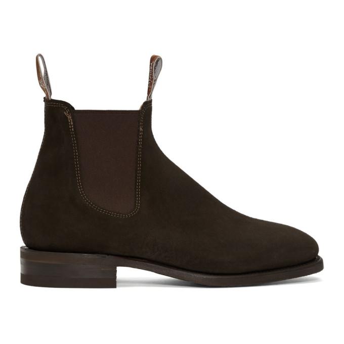 R.M. Williams Brown Suede Comfort Craftsman Chelsea Boots