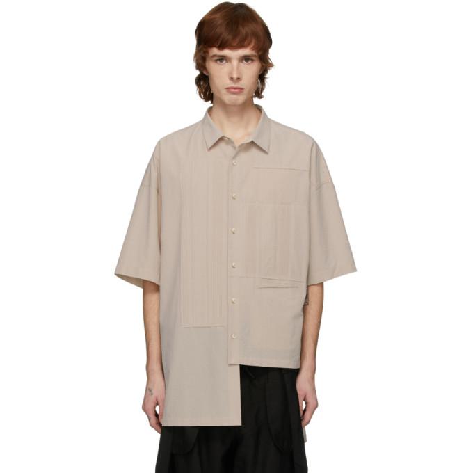 Ziggy Chen Chemise a manches courtes en coton blanc casse