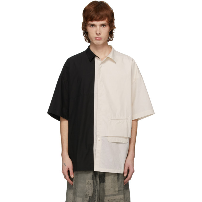 Ziggy Chen Chemise a manches courtes noire et blanc casse Combo