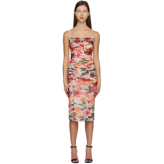 Dolce & Gabbana DOLCE AND GABBANA PINK FLORAL RUCHED DRESS