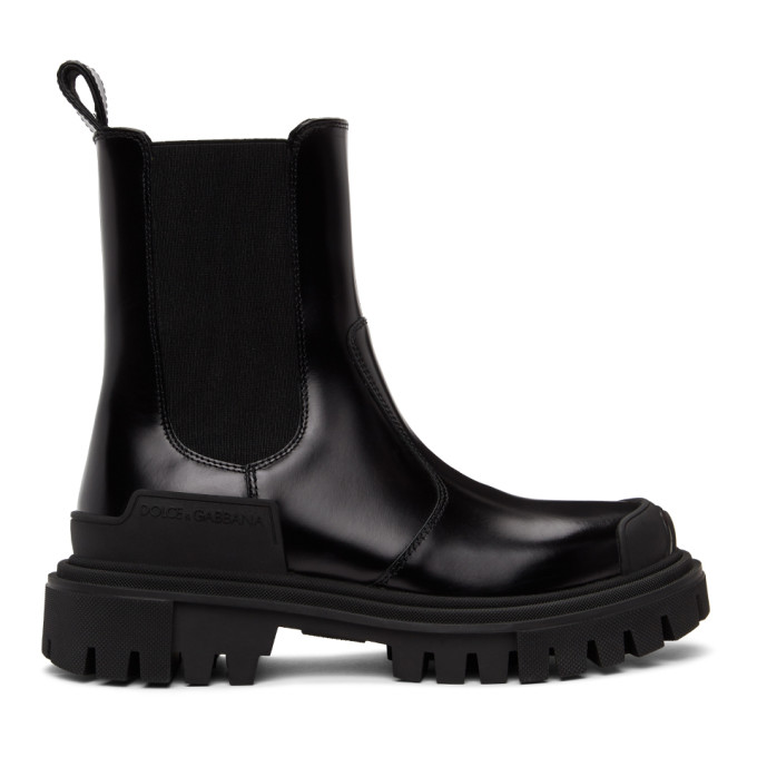 Dolce and Gabbana Black Biker Chelsea Boots