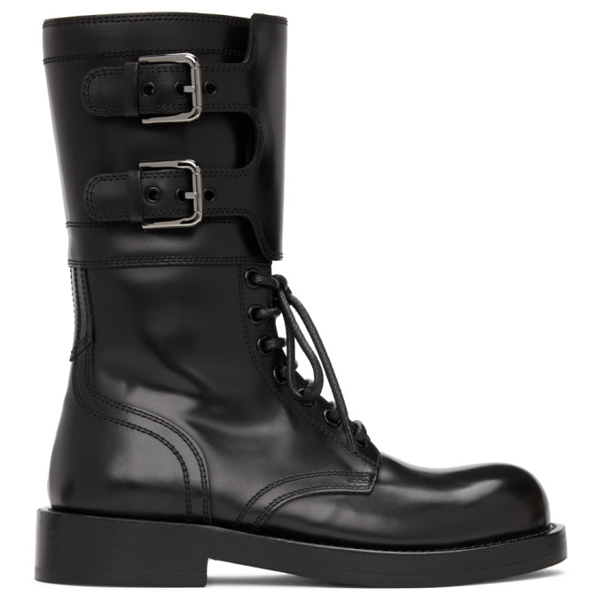 Dolce and Gabbana Black Patent Combat Boots