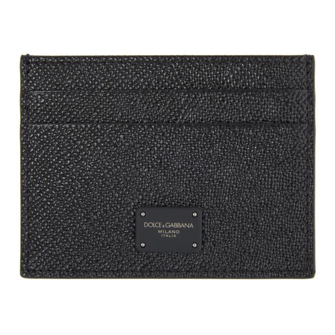Dolce & Gabbana DOLCE AND GABBANA BLACK DAUPHINE LOGO CARD HOLDER