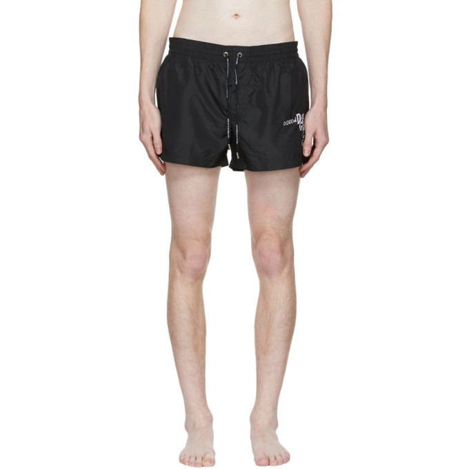 Dolce & Gabbana DOLCE AND GABBANA BLACK EMBROIDERED LOGO SWIM SHORTS