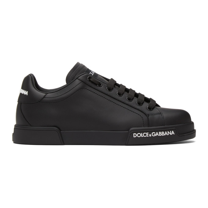 Dolce & Gabbana DOLCE AND GABBANA BLACK LOW-TOP SNEAKERS