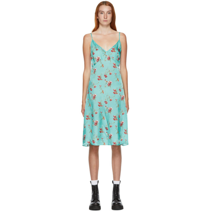 R13 R13 BLUE FLORAL BACK TIE SLIP DRESS