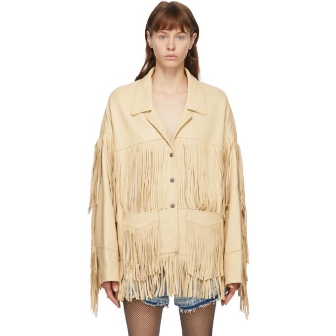 R13 R13 Off-White Deerskin Fringe Jacket