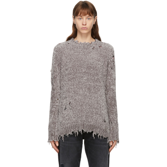 R13 R13 GREY CHENILLE DISTRESSED SWEATER