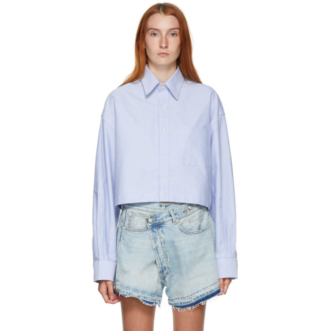 R13 R13 BLUE OVERSIZED CROPPED SHIRT