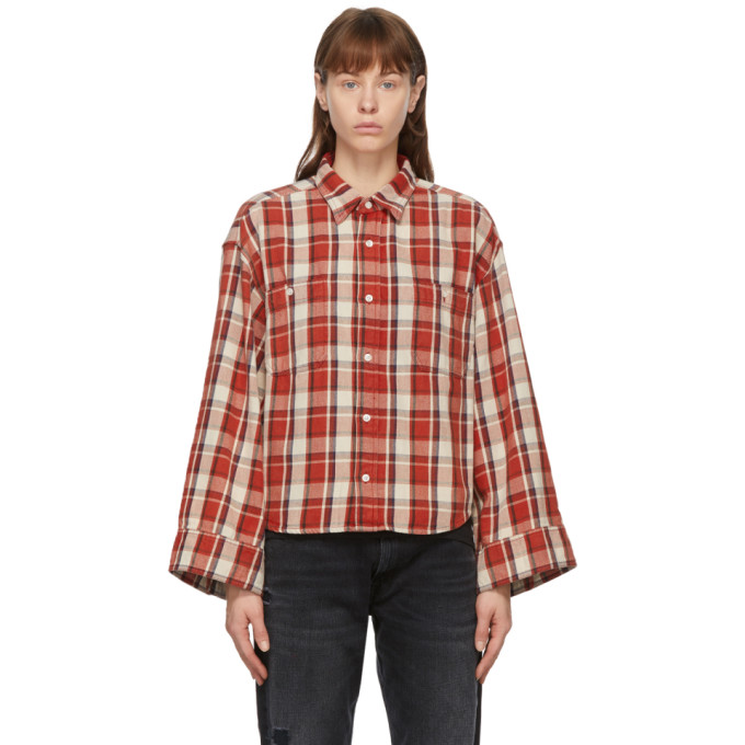 R13 R13 RED OVERSIZED SLEEVE CROPPED SHIRT