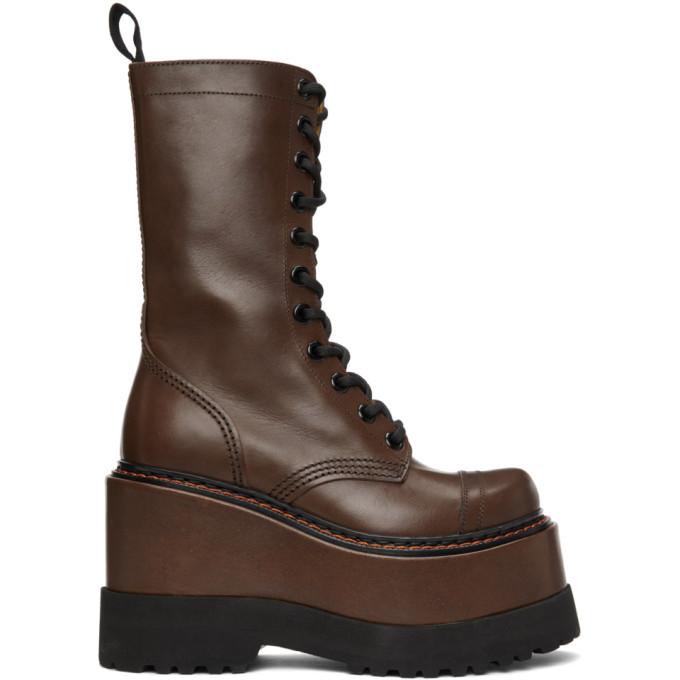 R13 棕色 Medium Platform 中筒靴