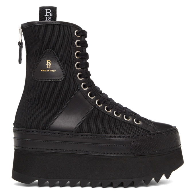 R13 黑色 Tall Winter Platform 中筒靴