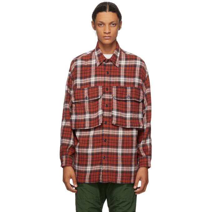 R13 R13 RED CHECK OVERSIZE SHIRT