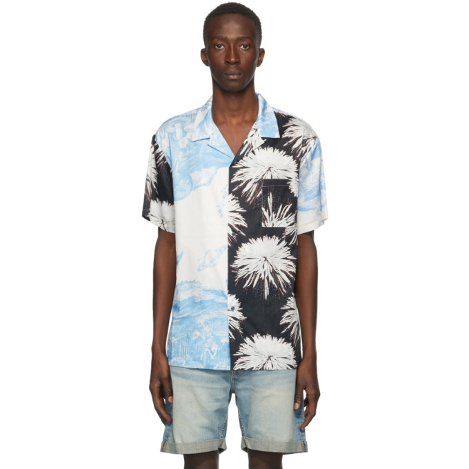 Double Rainbouu Chemise hawaienne a manches courtes blanche et noire Space Kingdom