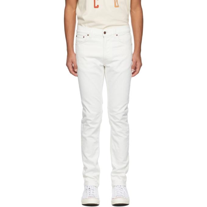 Nudie Jeans NUDIE JEANS OFF-WHITE LEAN DEAN JEANS