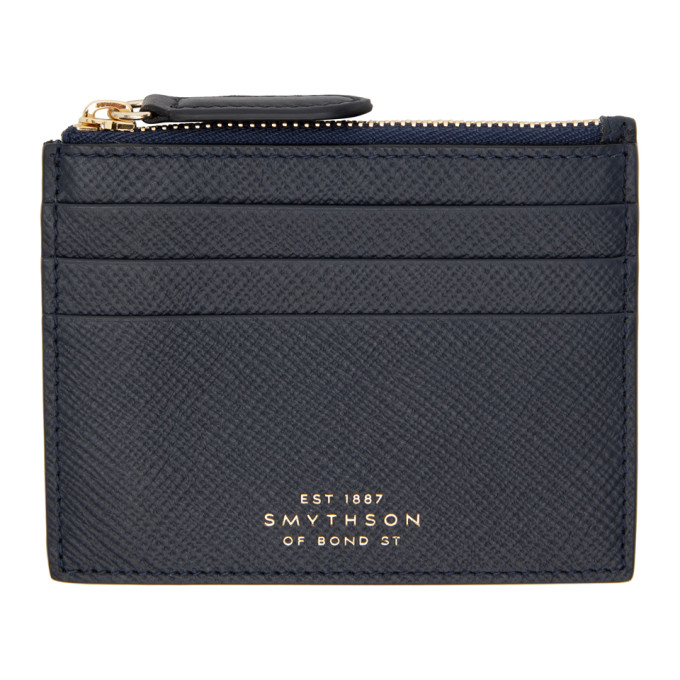 Smythson Navy Panama 6CC Card Holder  - buy with discount