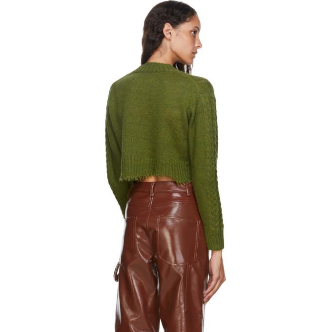 TIBI Sweaters TIBI GREEN NUAGE CROPPED CREWNECK