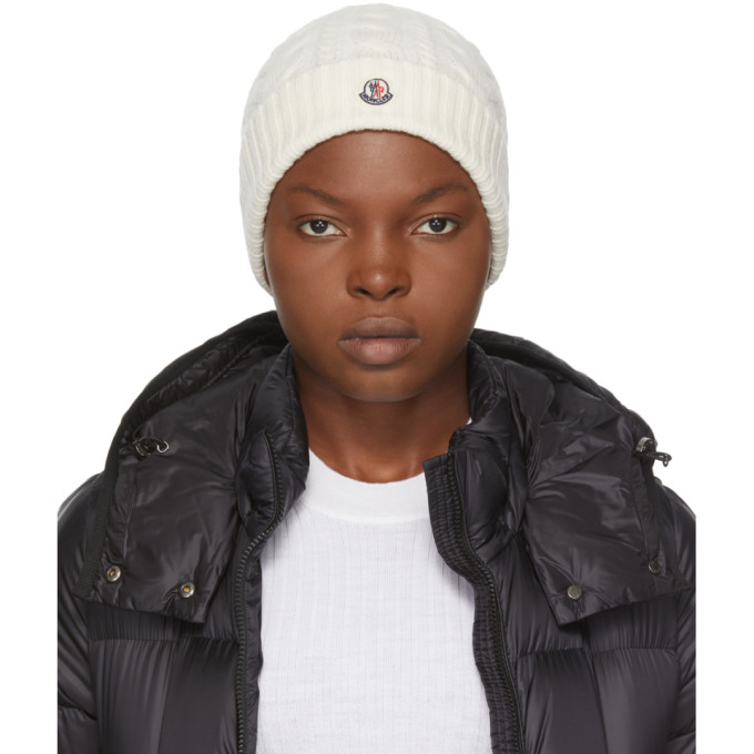 Moncler MONCLER WHITE CASHMERE BEANIE