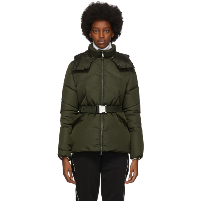 Moncler Green Down Aloes Coat In 833 Olive