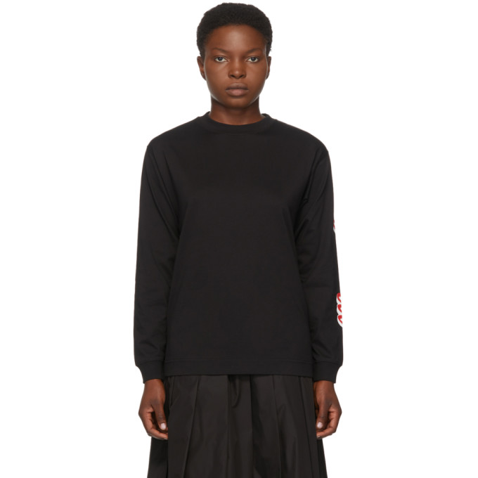 Moncler Cottons MONCLER BLACK LOGO LONG SLEEVE T-SHIRT